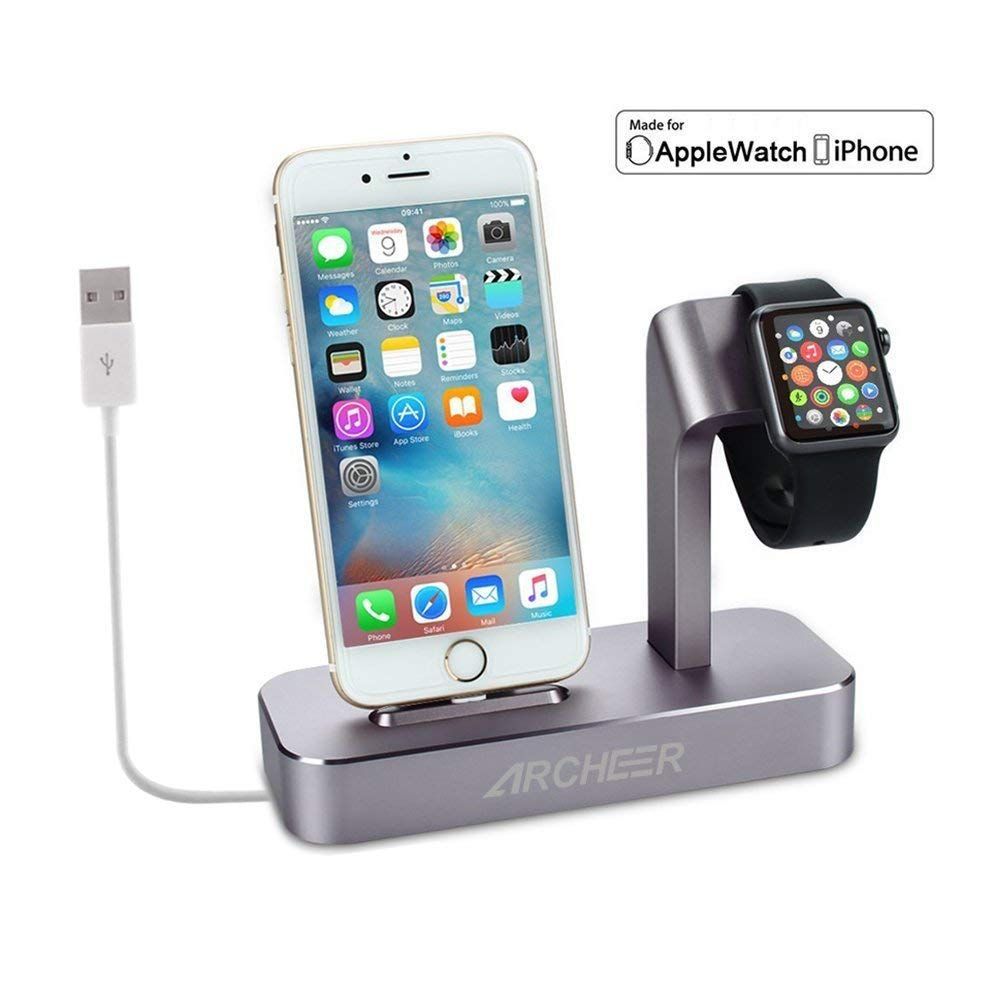 timeless design 7a3c0 dbeb6 Lightning Cable Included) Archeer 2 in 1 Apple Watch Stand iPhone ...