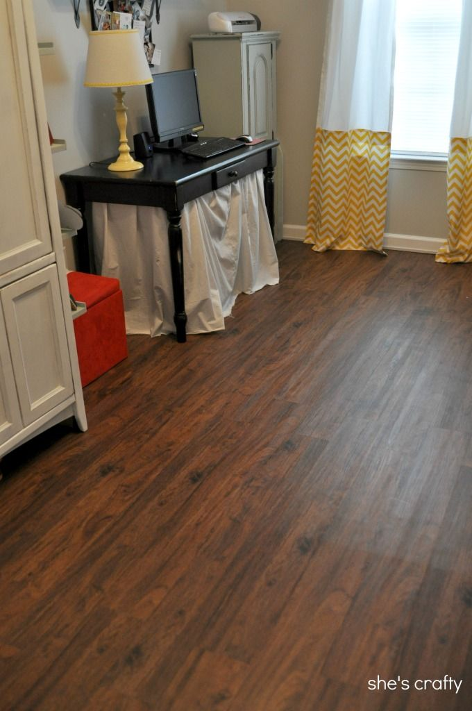 Lowes cherry flooring she 39 s crafty vinyl plank flooring aka fake wood floors for the home - Linoleum imitation parquet ...
