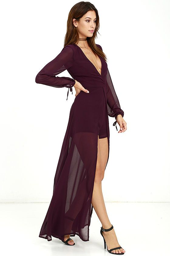 fd3c8bb87e61 Take a twirl in the Gone With the Whirlwind Plum Purple  Romper for a trend  that s the best of both worlds! Woven poly sweeps across a surplice bodice  with ...