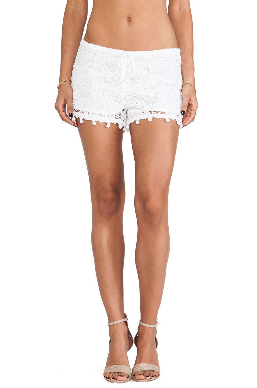 Alexis Debi Pom Pom Crochet Shorts in White Crochet | REVOLVEclothing $111