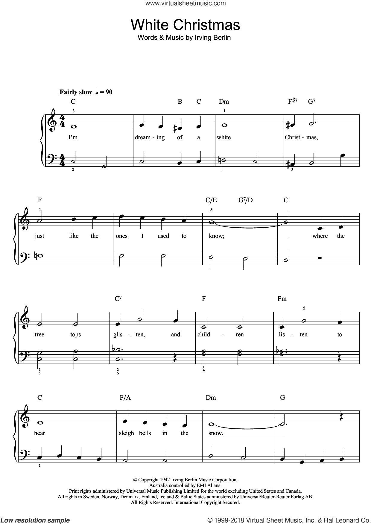 Crosby White Christmas sheet music for piano solo