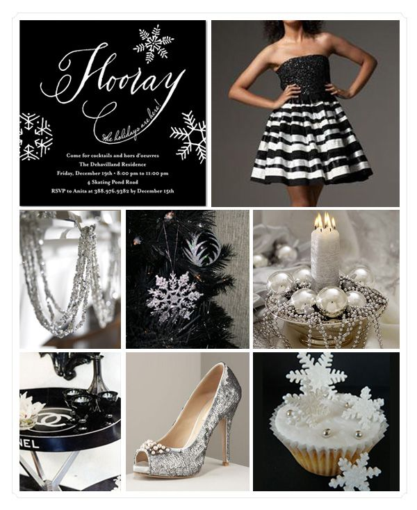 Inspiration Board Black And White Holiday Party Wedding Themes