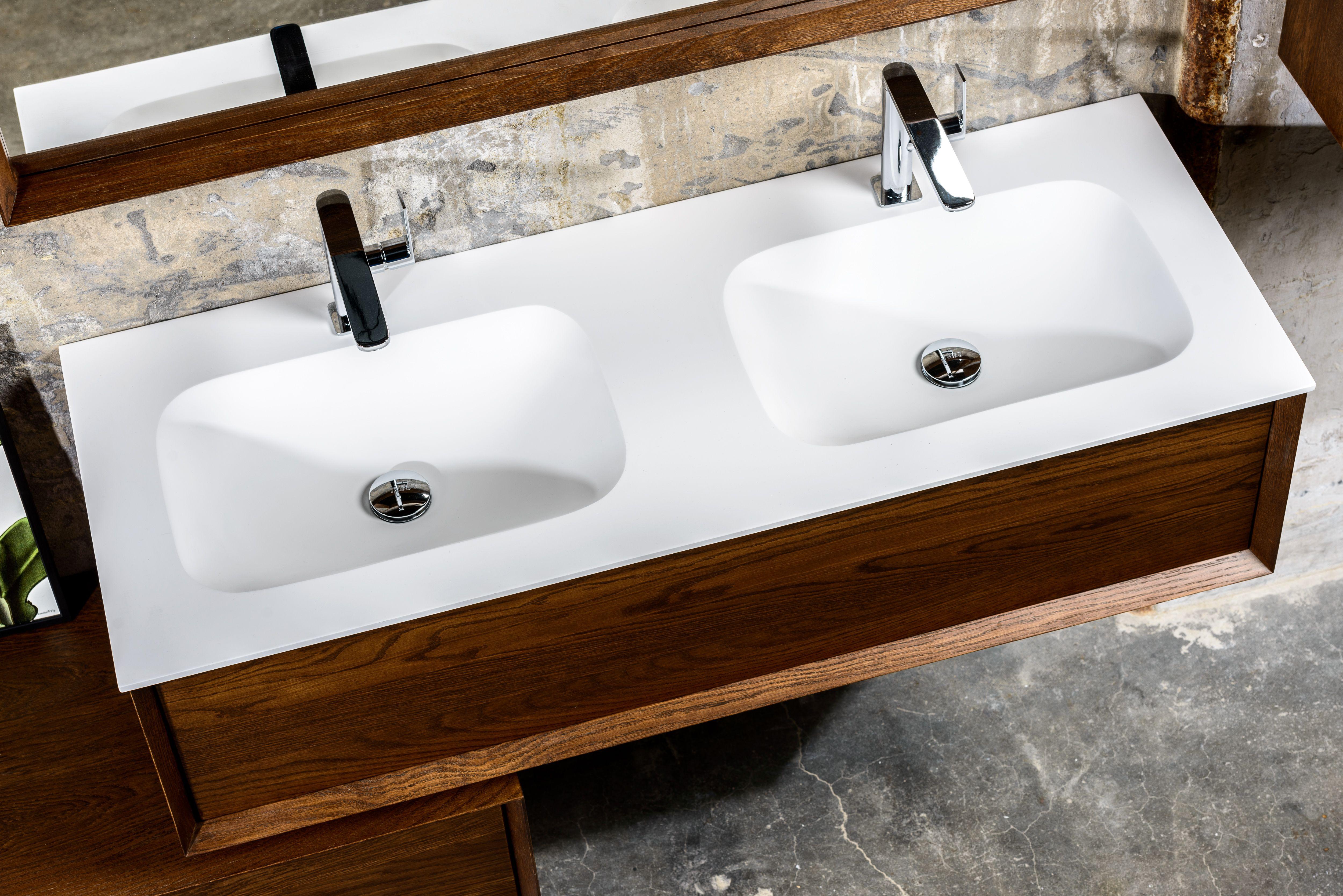 Coff badmeubel cm massief hout met dubbele wasbak badkamer