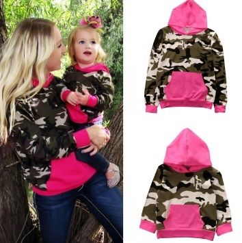 Mammy and Me Family Matching Outfits Mama and Little Lady Little Man Camo Hoodie Sweatshirts Pullover Sets