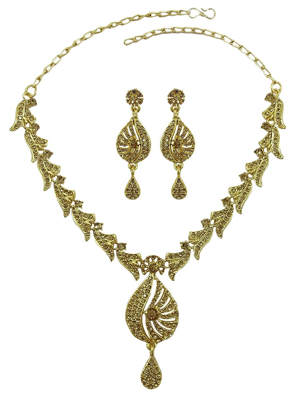 Matra Indian Traditional Gold Tone 2 Pcs CZ Designer Necklace Set