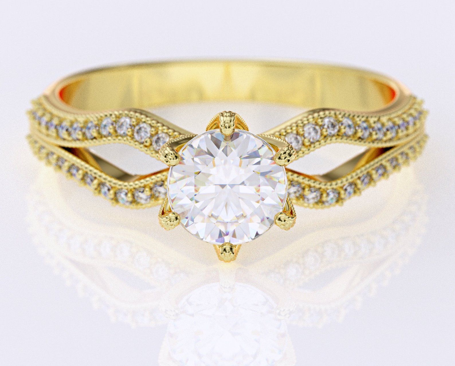 White Sapphire Ring Yellow Gold Engagement Ring 14k Gold Ring