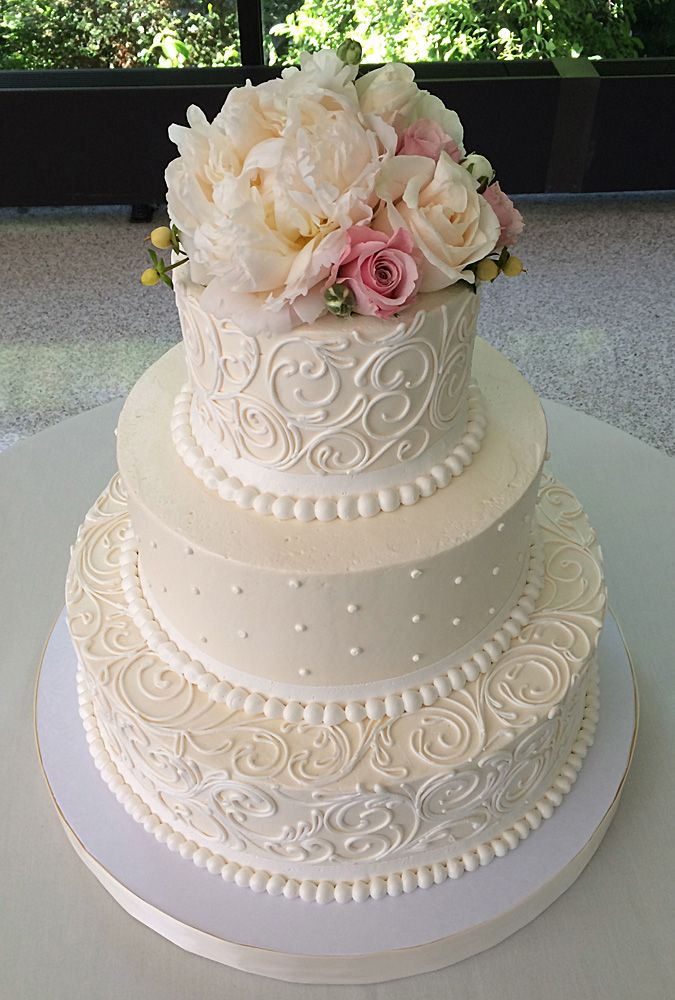 Antique Scrolling With Pearls 3 Tier Buttercream Wedding Cake Fresh Flowers