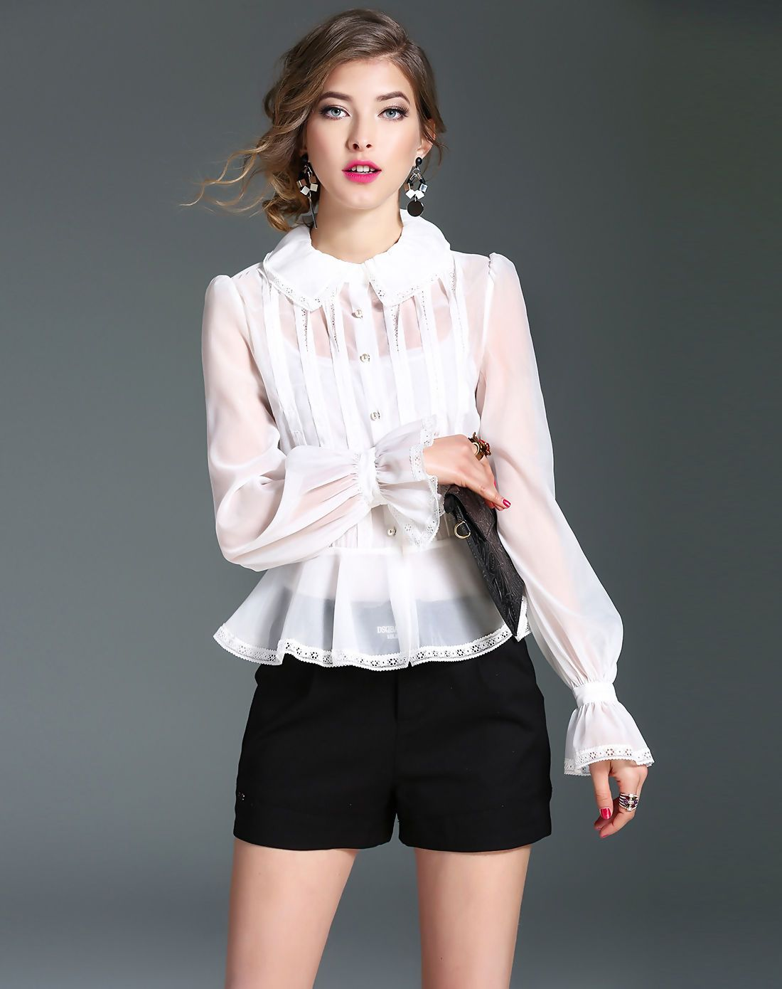 6b3ade9a3aa06  AdoreWe  VIPme Blouses   Shirts - mojaser White Two Piece Ruffled Elegant  Plain Organza Blouse - AdoreWe.com