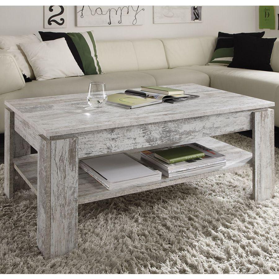 Los Angeles 66694 1291b Table basse contemporaine effet bois vieilli VERSUS | Table ...