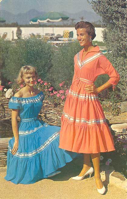 1950s Turquoise Patio Dress Set  Vintage Fiesta Dress