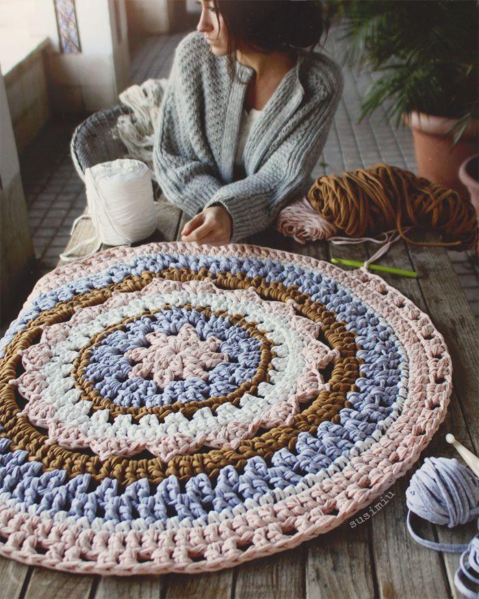 Alfombra de crochet susimiu trapillo ganchillo ganchillo xxl y punto pinterest trapillo - Alfombra trapillo facil ...