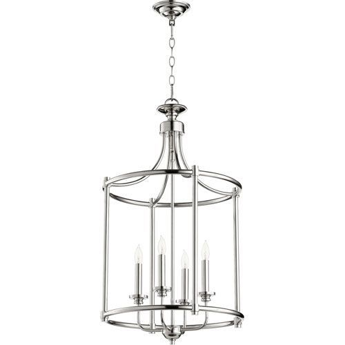 Rossington Polished Nickel Four-Light 30-Inch Pendant