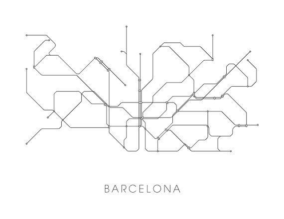 Subway Map Wall Art Endpoints.Barcelona Subway Map Print Barcelona Metro Map By Metromaps 2