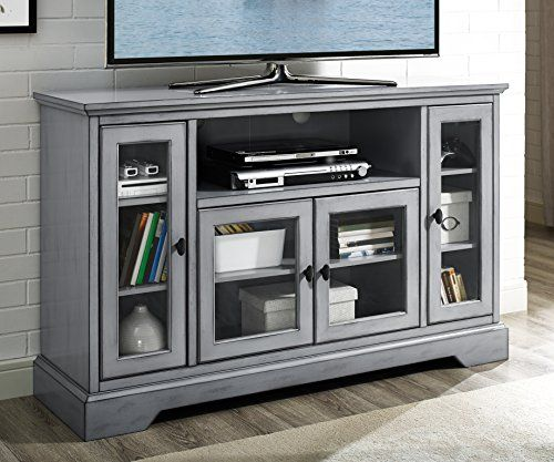 We Furniture 52 Wood Highboy Style Tall Tv Stand Antique Grey For More Information Visit Image Link Thi Tv Console With Fireplace Tall Tv Stands Tv Stand