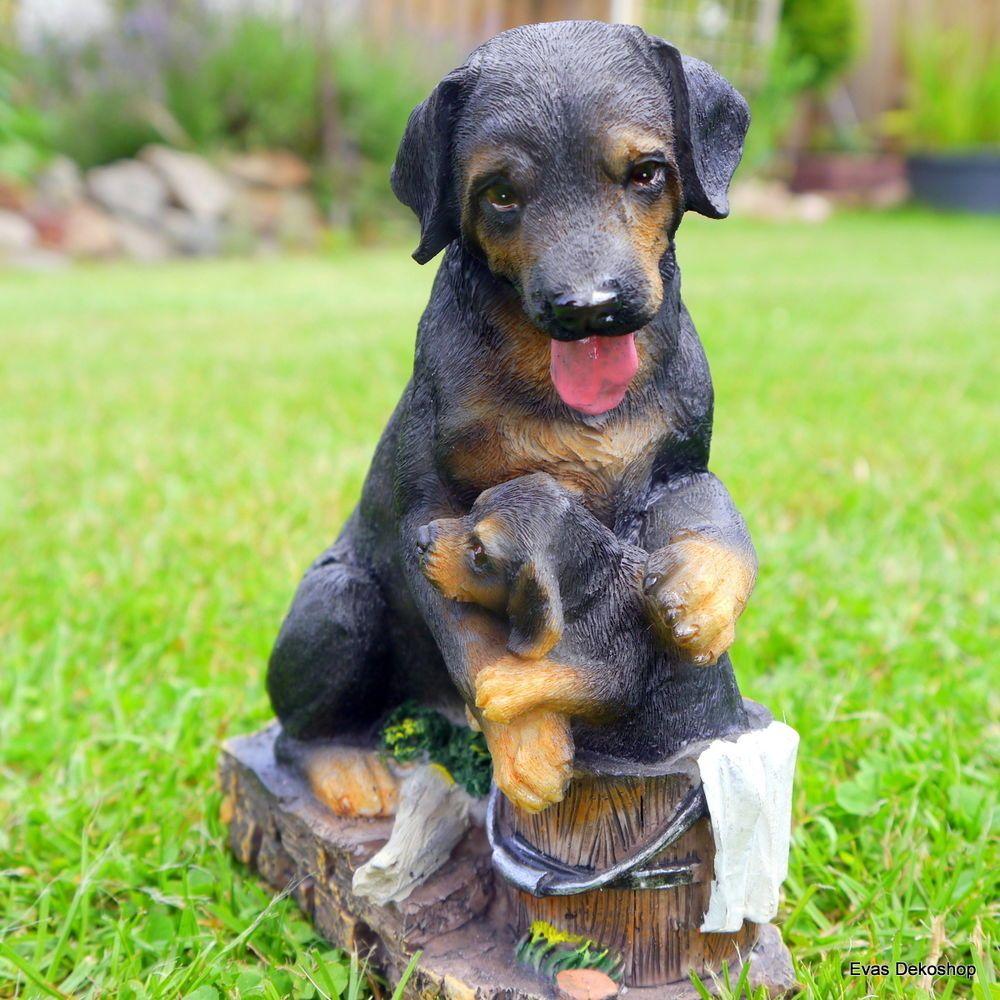 Rottweiler mit Welpe Hund Hunde Gartenfigur lebensecht
