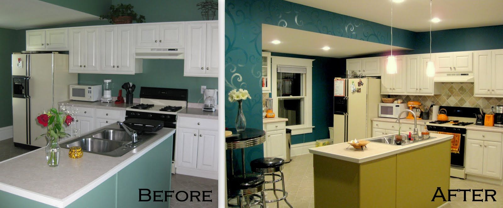 Budget Kitchen Updates! {Accent Wall and Faux Painted Backsplash!} - Sawdust and Embryos
