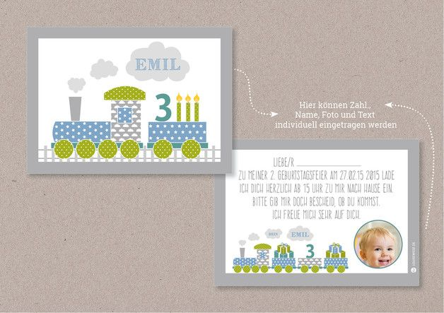 Schön Einladungskarten   PDF Einladungskarte EISENBAHN Kindergeburtstag   Ein  Designerstück Von Louise Wiese Bei DaWanda