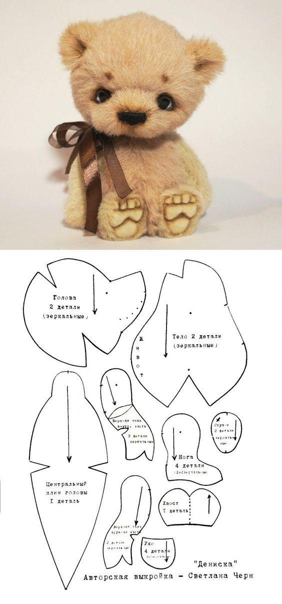 moldes-para-hacer-peluches-de-osos-y-conejos-2 | muñecos | Pinterest