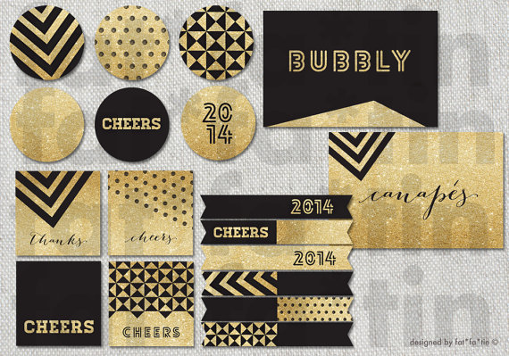 photo regarding Gold Printable Labels referred to as Gold Black Glitter Occasion Decorations Printable Banners