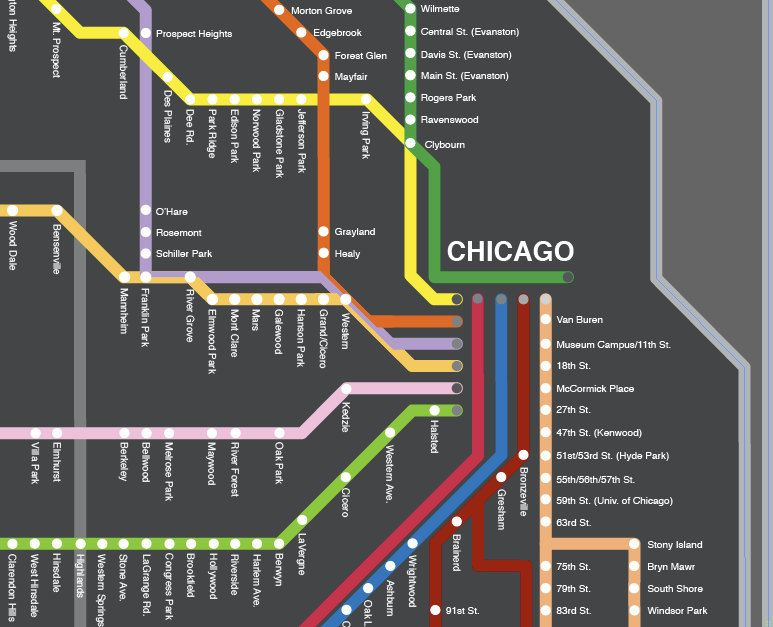 Fancy CTA map! I miss Chicago!!! | Chicago map, Chicago ...