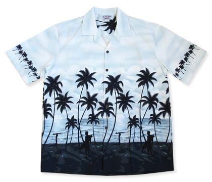 edbfd589 Endless Summer Grey Hawaiian Border Aloha Sport Shirt