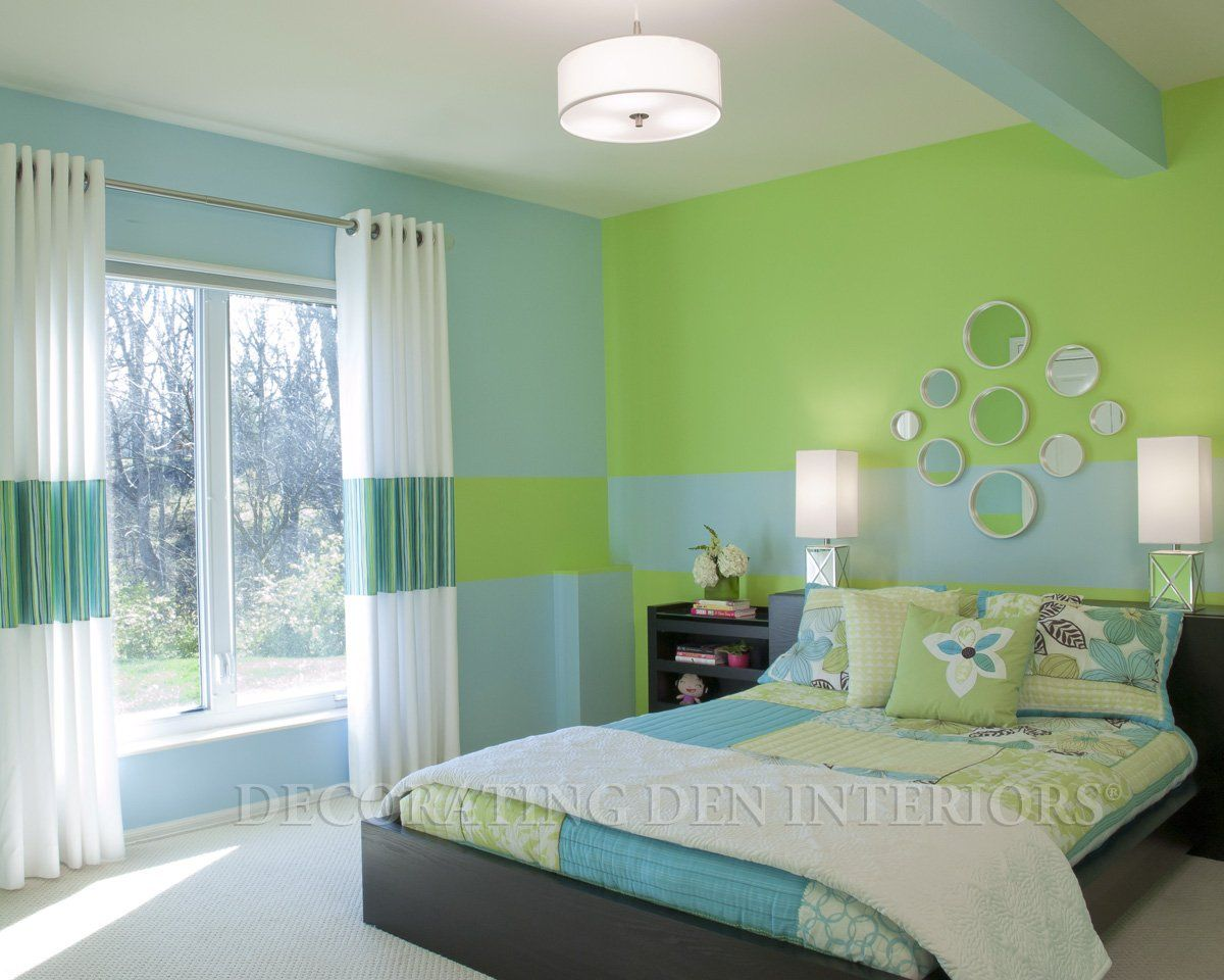Blue And Green Bedroom Clever Use Of Paint Creates Room's Design  Bald Hairstyles Green