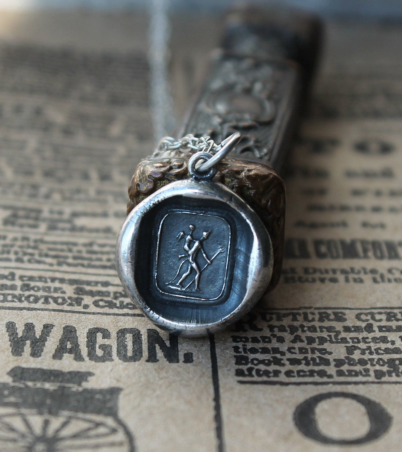 peace USA NEW 925 silver Victorian Wax Seal Charm,be still /& enjoy the silence