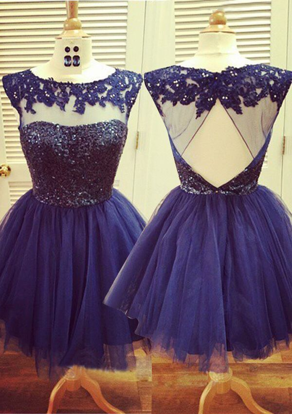 Tulle Homecoming Gowns,Backless Party Dress,Open Back Short Prom ...