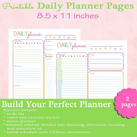 Daily Planner Pages For Full Size Notebooks By