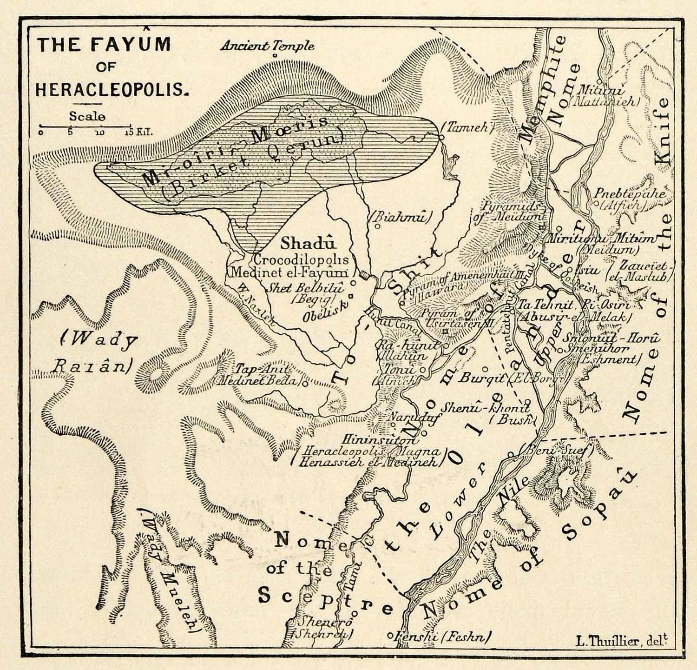 Print Fayum Heracleopolis Map Thuillier Ihnasiya Umm AlKimam - Map of fayoum egypt