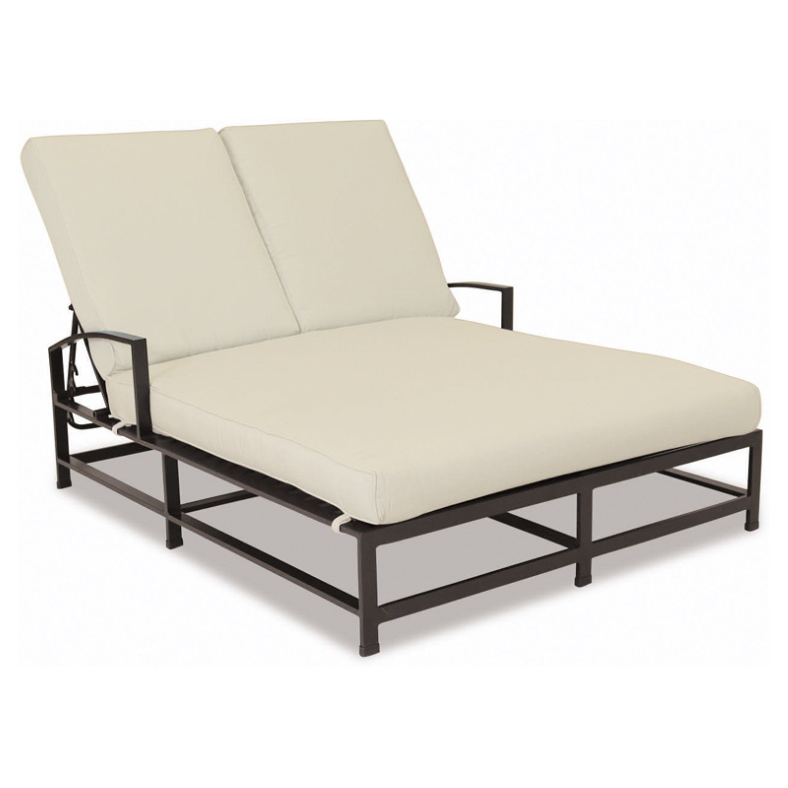 Outdoor Sunset West La Jolla Aluminum Double Chaise Lounge With Cushion Canvas Flax Products In 2019 Chaise Cushions Patio Chaise Lounge