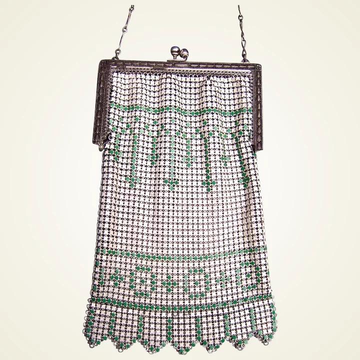 Photo of Art Deco enamelled metallic mesh bag or evening purse (AAW)