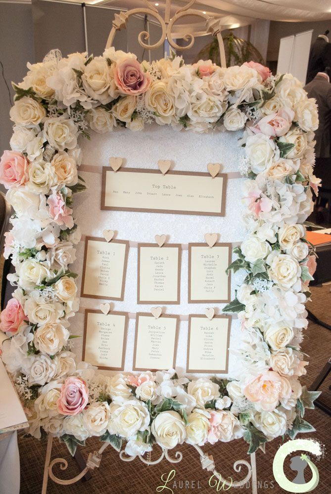 Pink And White Silk Flower Table Plan Frame Laurel Weddings Spring Wedding Fayre At