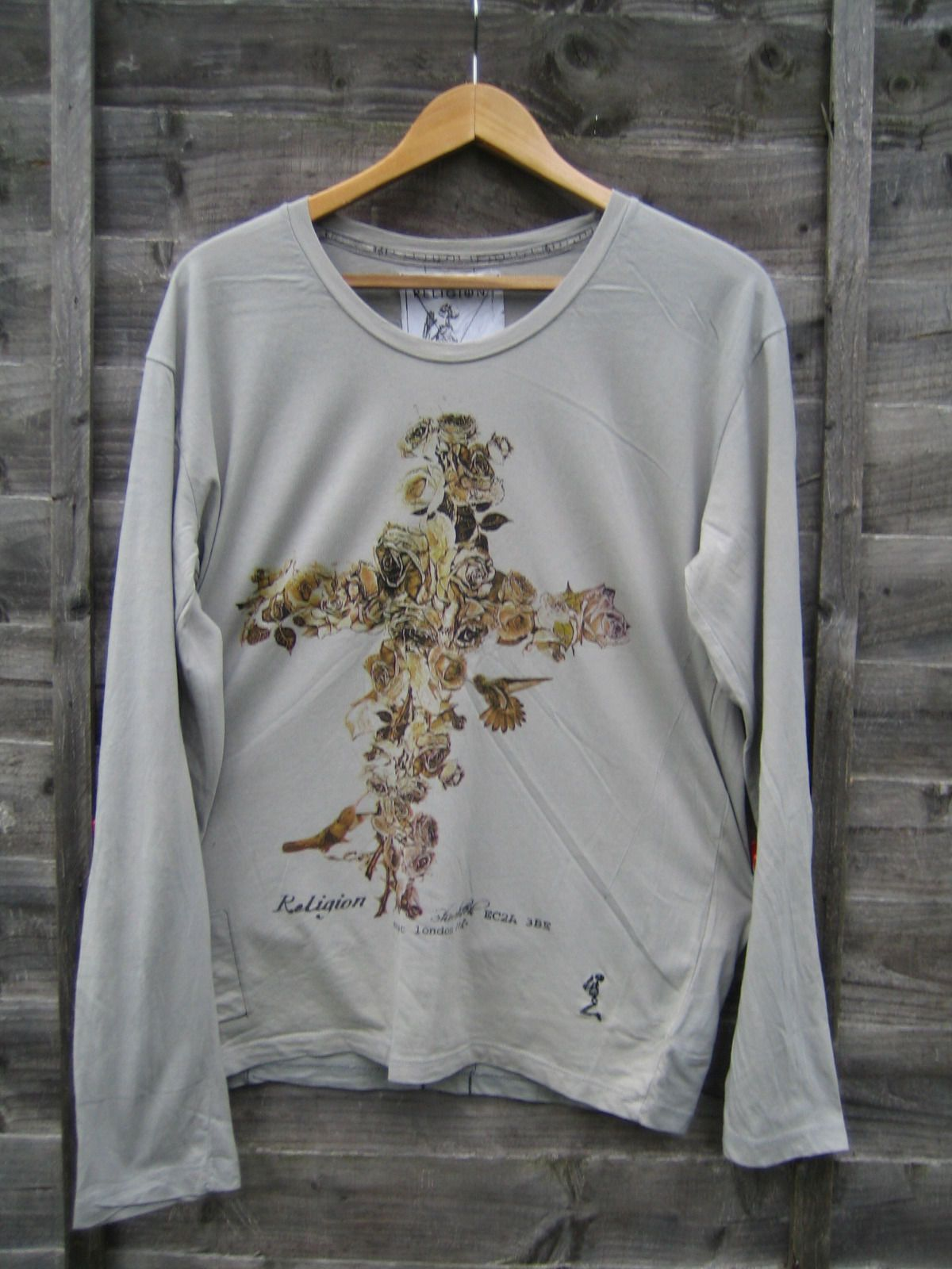Religion Shoreditch Grey Cross OF Roses Long Sleeve T Shirt Size L VGC | eBay