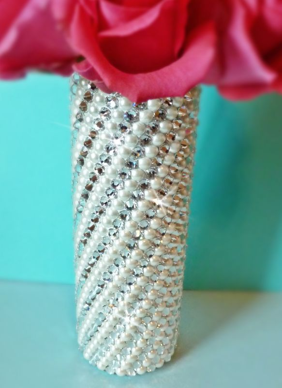 Diy Bouquet Holder Wedding Crystal Flowers Ivory Pearl Silver Handle Inspiration 2