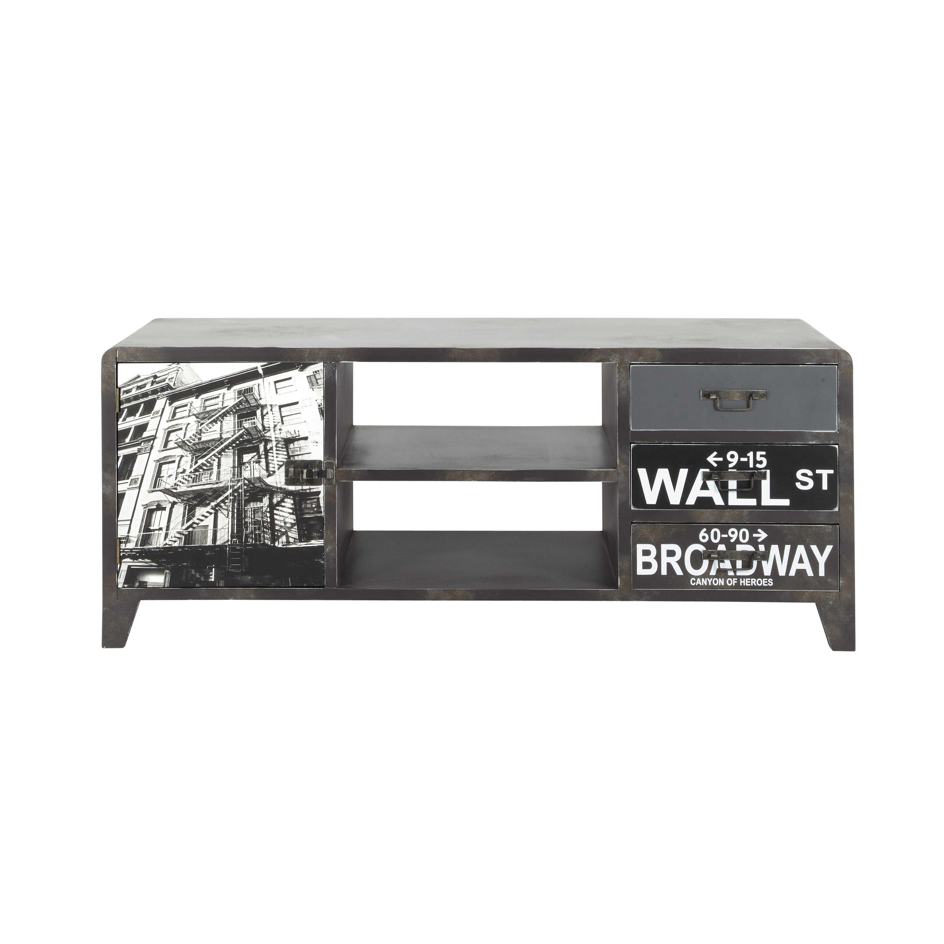 Porta-TV nero in legno effetto metallo L 120 cm Wall Street