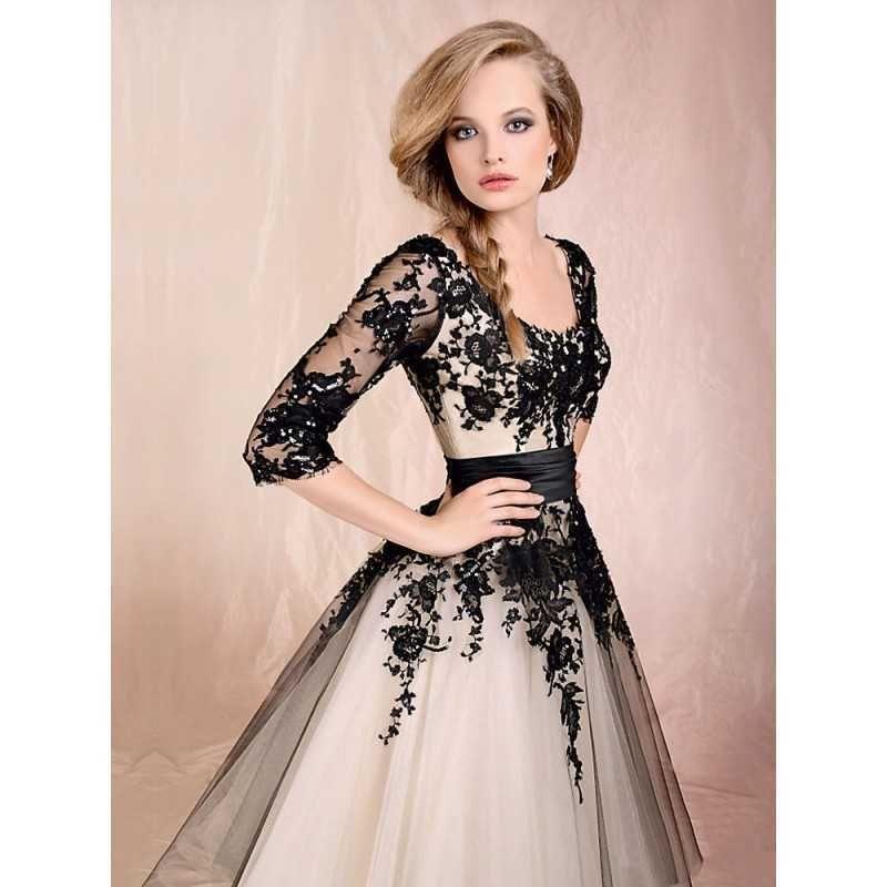 Weiße-und-schwarze-Spitze-Hochzeitskleid-03.jpg (800×800 ...