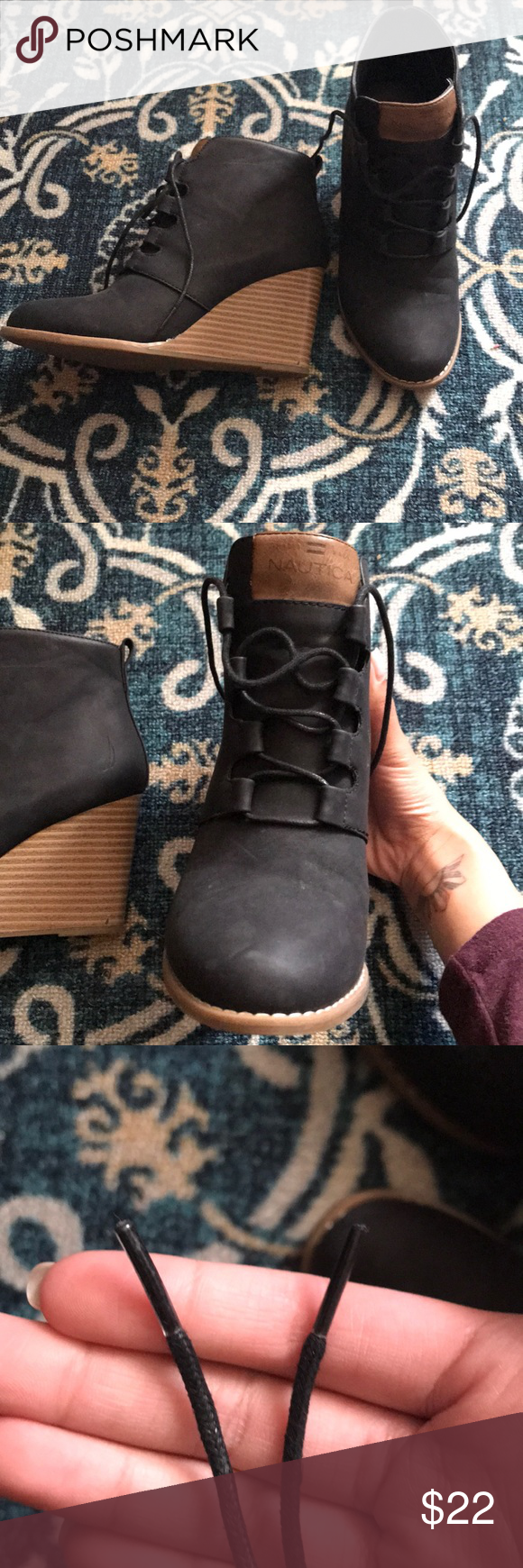 03acad5f4ba Nautica Wedge booties lightly used size 7. black waterlined heel Nautica  Shoes Ankle Boots   Booties