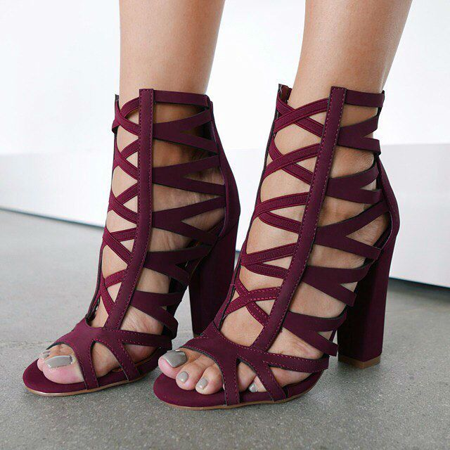 8b482b27891 Caged Chunky Peep Toe Heels | **DISCOUNT SHOES | Shoes, Shoe boots ...