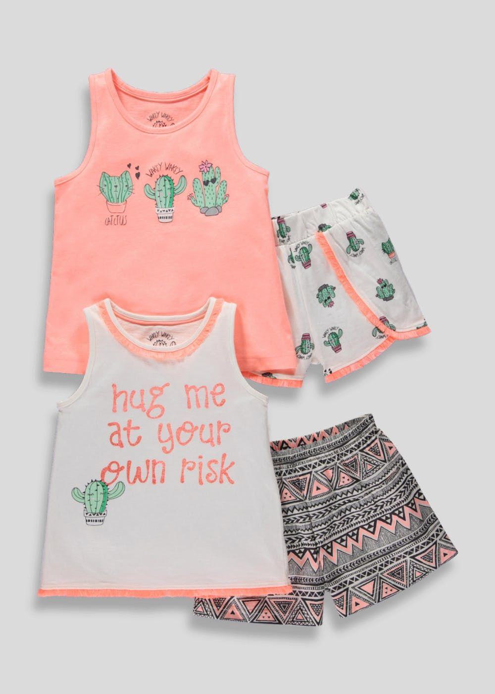 dff71e103e5e Girls 2 Pack Cactus Short Pyjamas (4-13yrs) – Coral