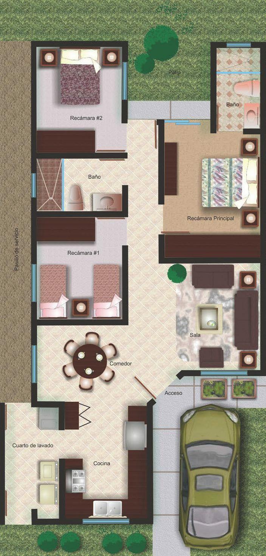 Pinterest claudiagabg casa en residencia 3 cuartos for Viviendas pequenas