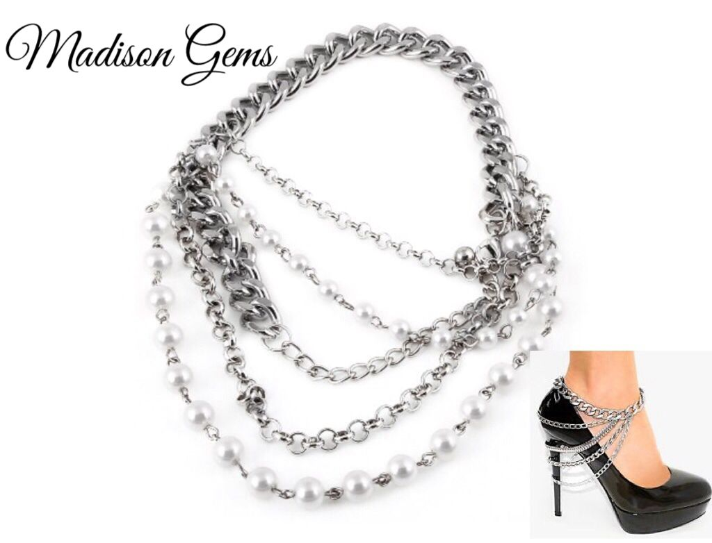 """Pearl Accent Heel Chain"" available now at www.madisongems.com"