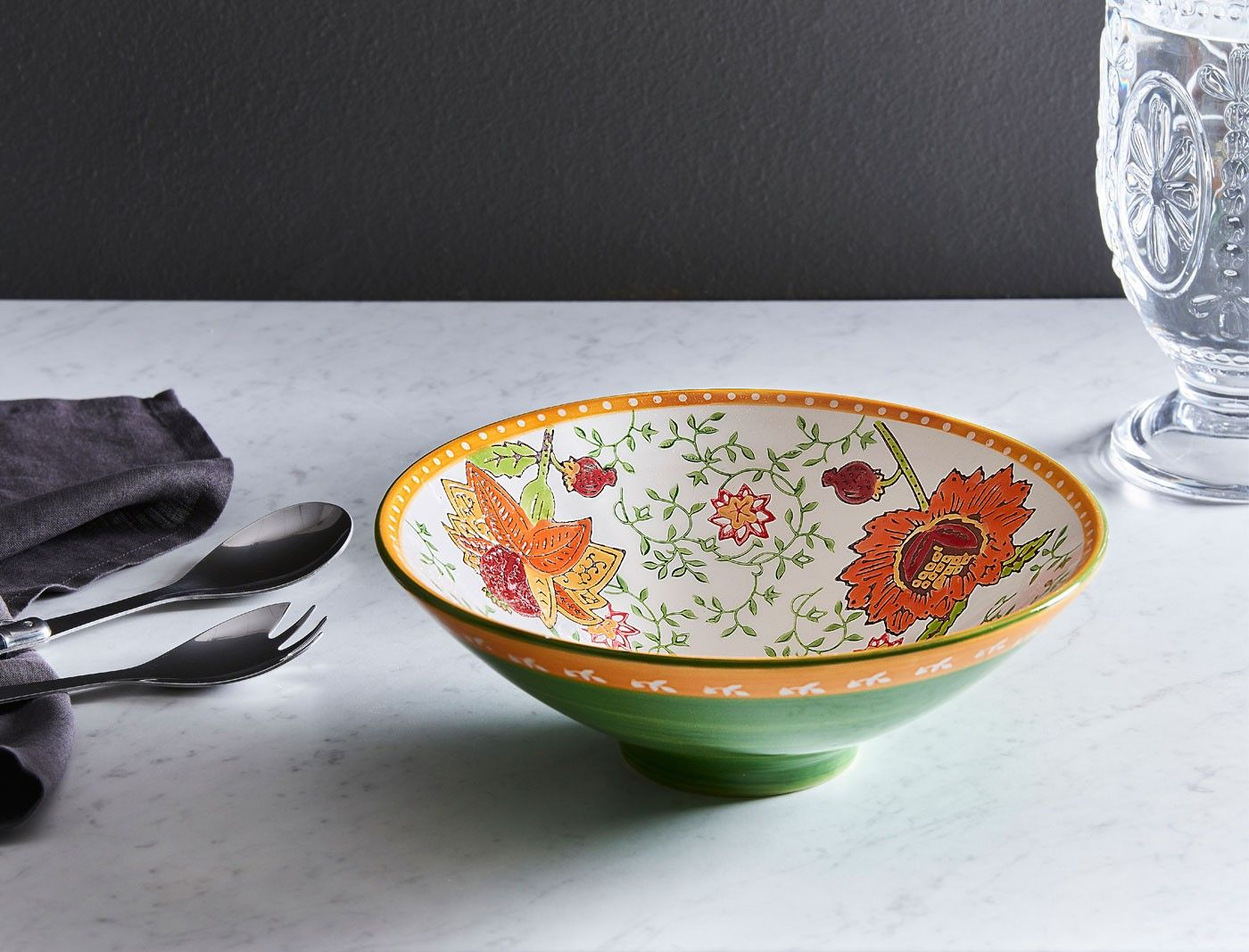 TANGO+FLARED+BOWL+RED+FLORAL++-+RED/GREEN/ORANGE