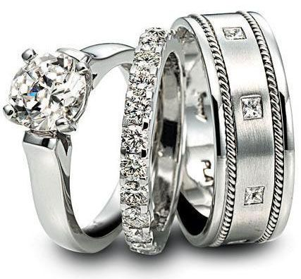 The Ring Platinum Male And Female Wedding Ring Trio Sets Engagement Ring Wedding Band Wedding Ring Bands