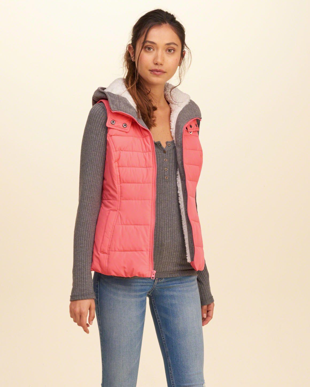 17cdeea924b5 Girls Sherpa Lined Twofer Puffer Vest