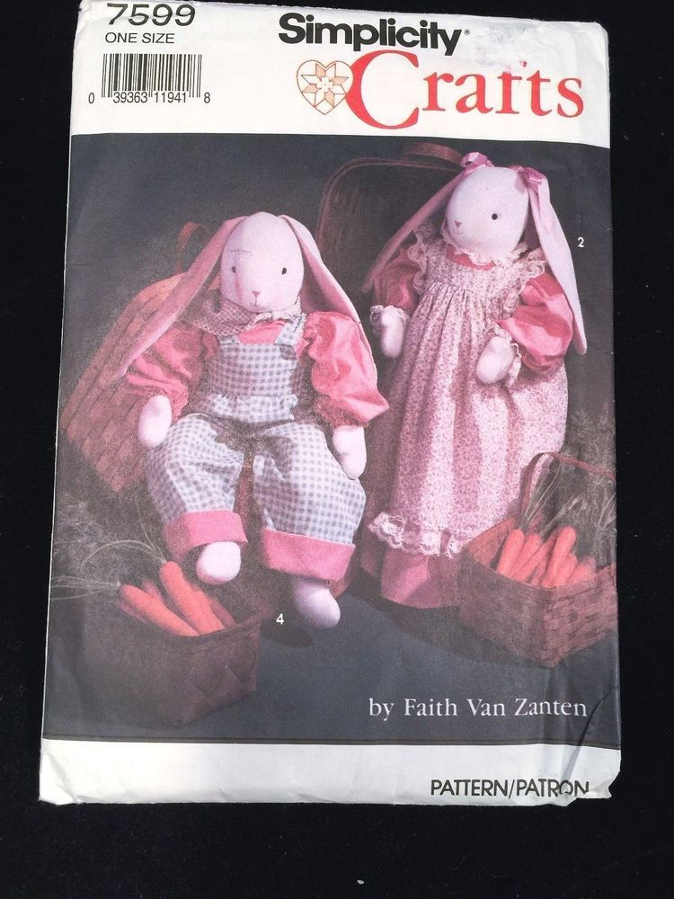 Simplicity Crafts Pattern 7599 Easter Bunny Complete Uncut ...