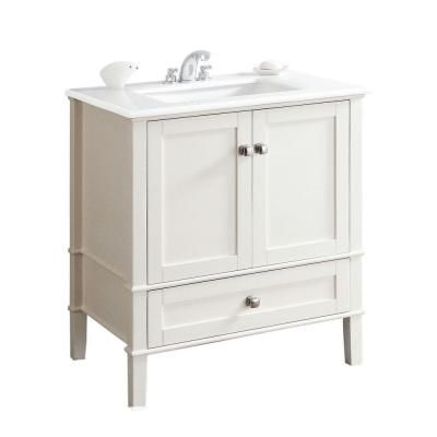 Simpli Home Chelsea 30 In Bath Vanity In Soft White With