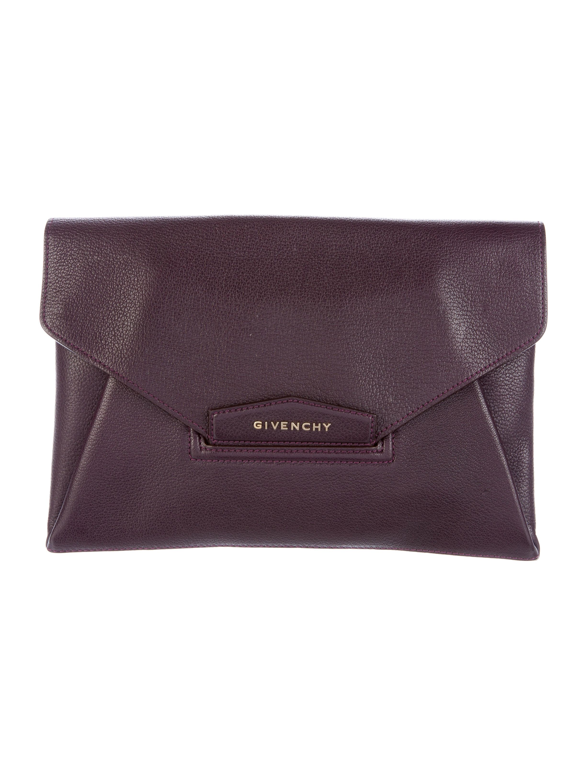 5f74ea528ded Plum grained goatskin leather Givenchy Antigona envelope clutch with  gold-tone hardware