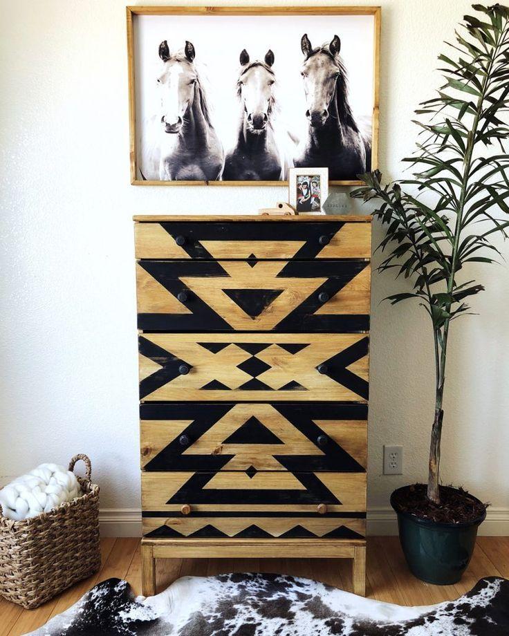 Dark Wax on Raw Wood-Aztec Dresser Makeover - Hollee Fierro #aztec
