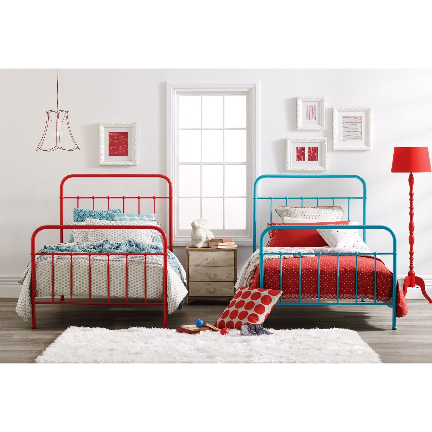 i plan to style it with white linen and red and pink cushions with a little touch of yellow sunday scarlet red bed frame